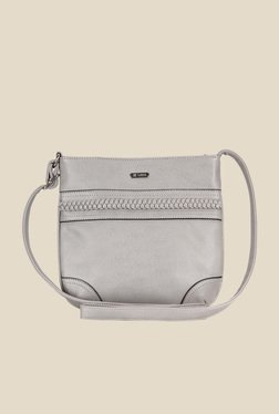 Lavie Dover Light Grey Textured Sling Bag