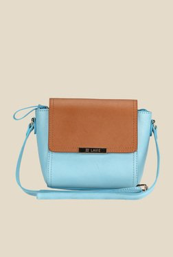 Lavie Dover Blue And Brown Trapeze Sling Bag