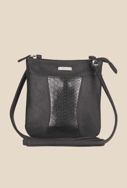 Lavie Dover Black Snake Skin Textured Sling Bag