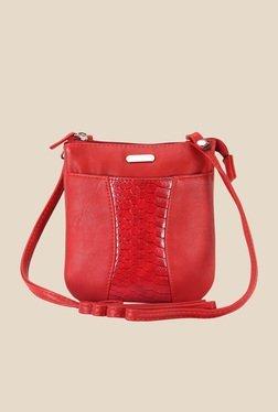 Lavie Dover Red Snake Skin Textured Sling Bag