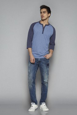 Nuon by Westside Blue Slim Fit Textured T Shirt