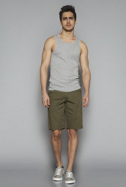 Nuon By Westside Grey Ultra Slim Fit Textured Tank