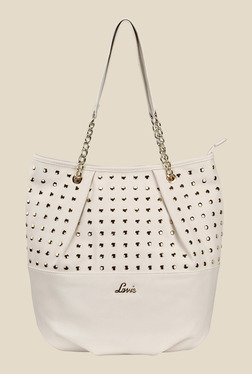 Lavie Danube Off-White Studded Shoulder Bag