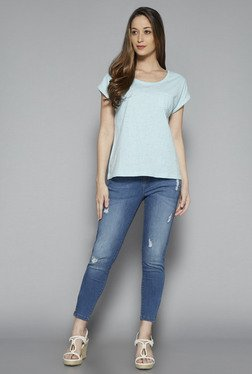 LOV By Westside Light Blue Textured T Shirt