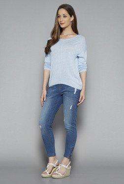 LOV By Westside Light Blue Jessy Textured T Shirt