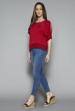 LOV by Westside Red Lace Top