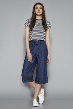 Nuon By Westside Black & White Striped Crop Top