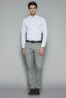 Ascot by Westside Blue Slim Fit Textured Shirt