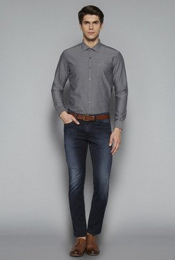 Ascot by Westside Grey Slim Fit Textured Shirt