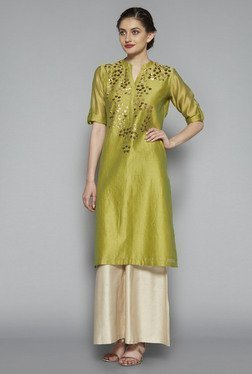 Zuba by Westside Lime Embroidered Kurta