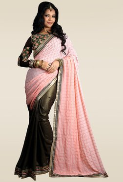 RCPC Pink & Olive Green Saree With Blouse