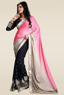 RCPC Pink & Black Saree With Blouse
