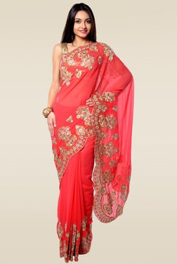 RCPC Coral Embroidered Saree With Blouse