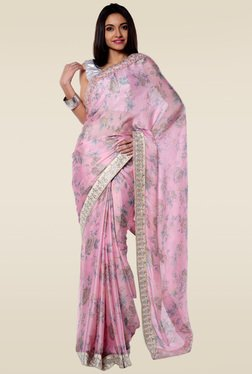 RCPC Pink Floral Printed Saree With Blouse