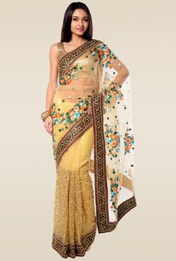 RCPC Beige Floral Embroidered Net Saree With Blouse