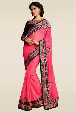 RCPC Pink Embroidered Border Saree With Blouse
