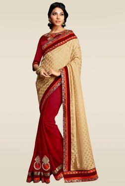 RCPC Beige & Maroon Half And Half Saree With Blouse