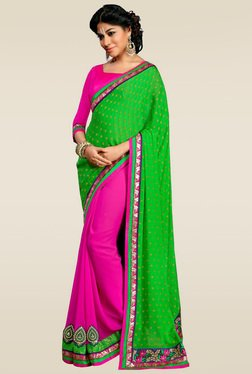 RCPC Green & Pink Half And Half Saree With Blouse