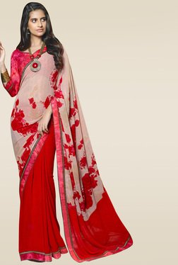 RCPC Red Floral Printed Saree With Blouse