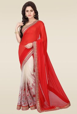 RCPC Red Georgette & Net Saree With Blouse