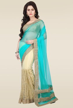 RCPC Sky Blue Net Saree With Blouse