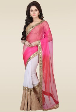 RCPC Pink Net & Georgette Saree With Blouse