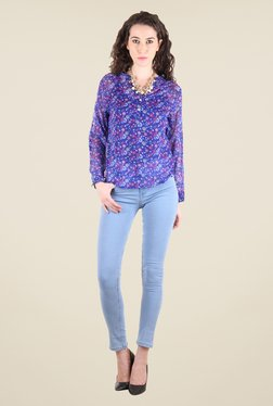 Chimera Blue Floral Print Top