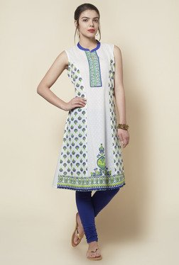 Zudio Off White Printed Anarkali Kurta