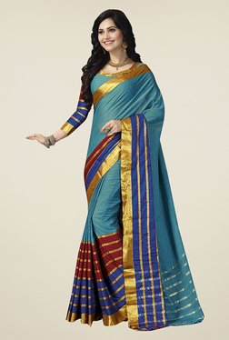 Ishin Teal Striped Poly Cotton Saree