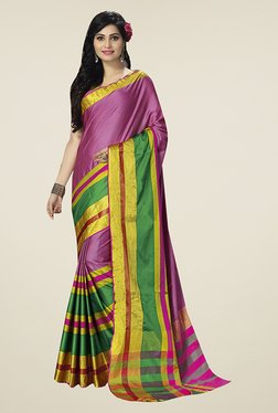 Ishin Pink Striped Poly Cotton Saree