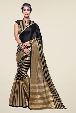 Ishin Black & Gold Striped Poly Cotton Saree