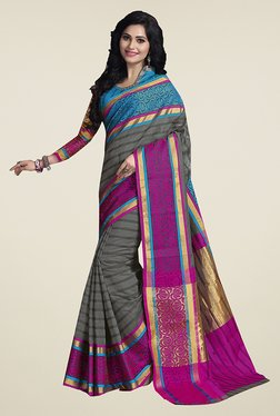 Ishin Grey Striped Poly Cotton Saree