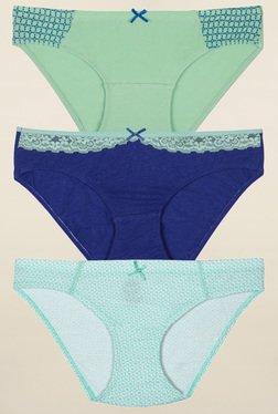 Inner Sense Green & Blue Printed Bikini Panties (Pack Of 3)
