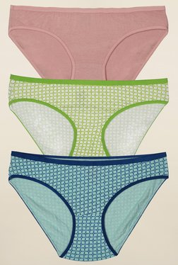 Inner Sense Tan, Green & Blue Bikini Panties (Pack Of 3)