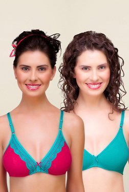 Inner Sense Pink & Teal Non Padded Bra (Pack Of 2)
