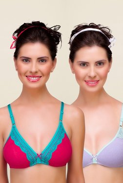 Inner Sense Pink & Purple Non Padded Bra (Pack Of 2)