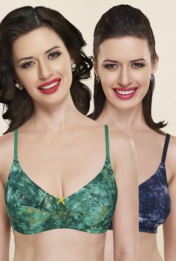 Inner Sense Green & Blue Non Padded Bra (Pack Of 2)