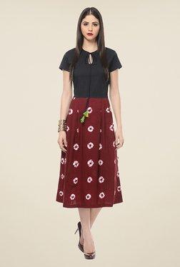 ANS Maroon & Black Printed Dress