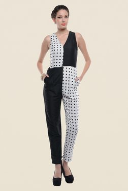 ANS Black & White Printed Jumpsuit