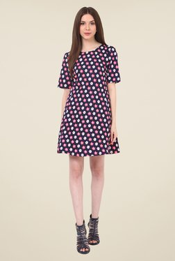 Rena Love Navy Floral Print Dress