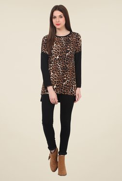 Rena Love Brown Animal Print Top