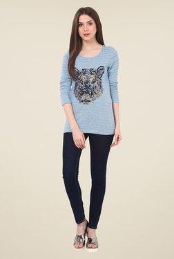 Rena Love Blue Embellished Top