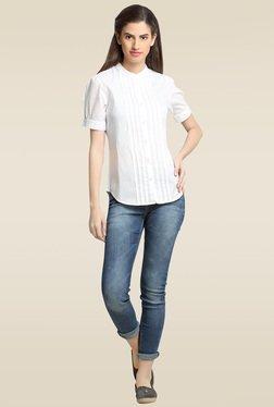 Loco En Cabeza White Mandarin Collar Shirt