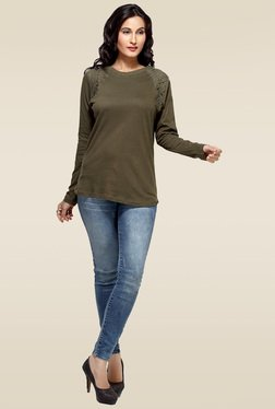 Loco En Cabeza Olive Cotton Top