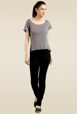 Loco En Cabeza Grey Short Sleeves Top