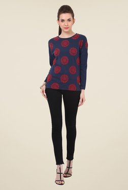 Rena Love Navy Embroidered Sweatshirt