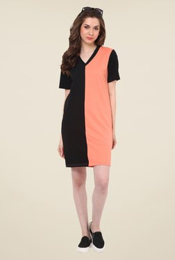 Rena Love Peach & Black Solid Dress