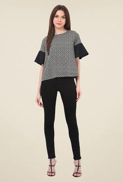 Rena Love Black & White Printed Top