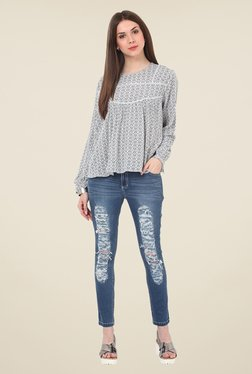 Rena Love White & Navy Printed Top