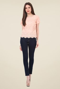 Rena Love Peach Embroidered Top